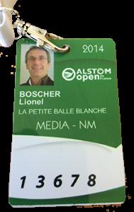 Badge Presse - Open de France 2014