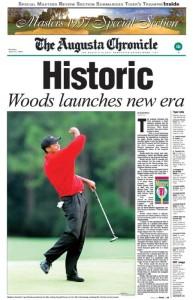 La une du Augusta Chronicle après le Masters 1997
