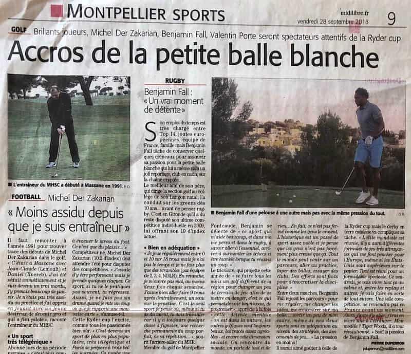 Article Ryder Cup _ Midi Libre - Pierre Duperron